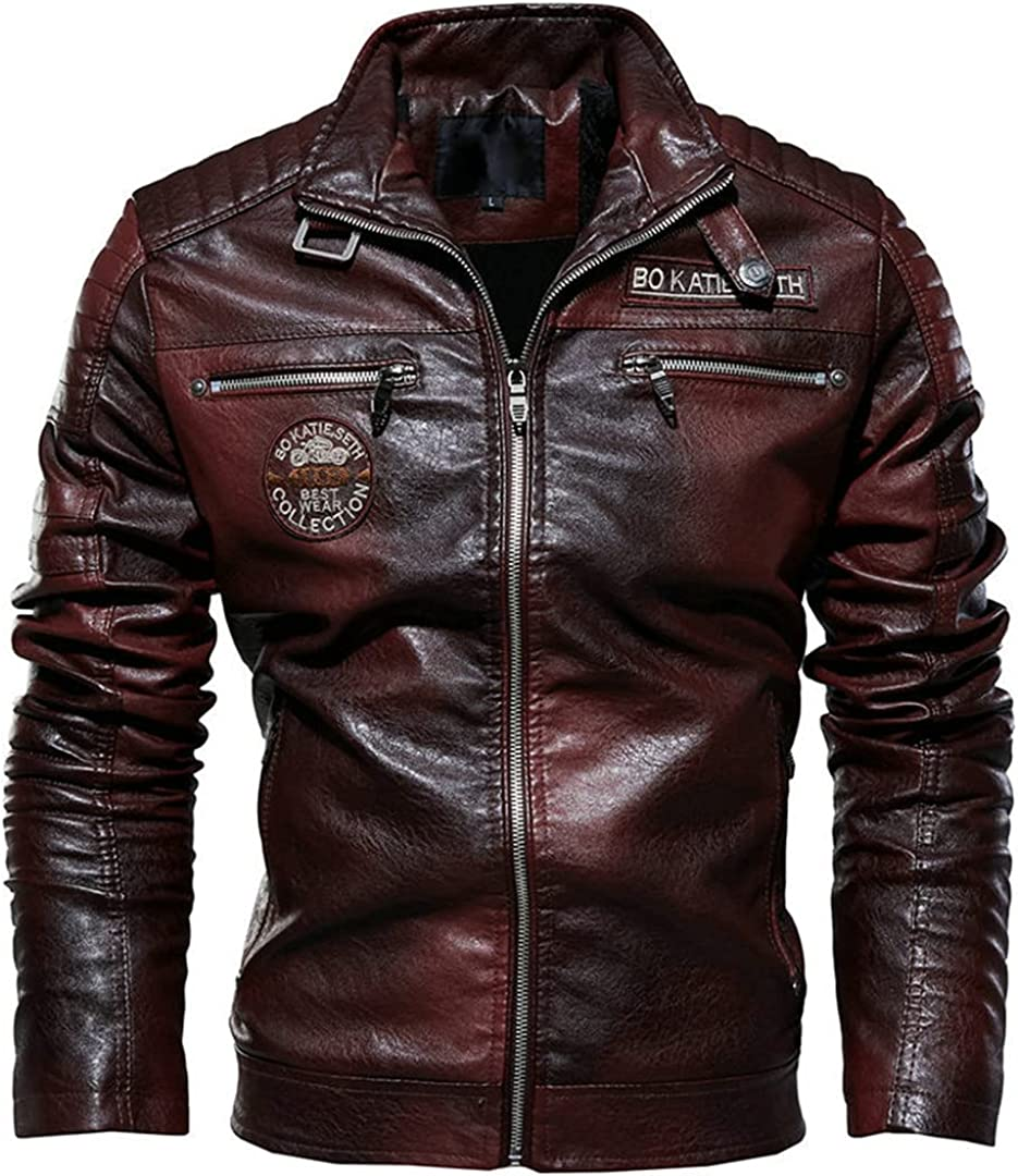 Winter Motorcycle Fleece Leather Jacket Men Leather Jacket PU Leather Slim Fit Motorcycle Coats