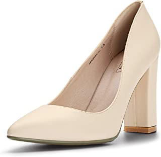 IDIFU Women's IN4 Chunky-HI Classic Closed Pointed Toe Pumps High Chunky Block Heels Dress Office Shoes Beige Size: 8