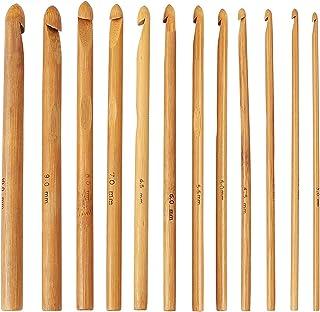 Aiguilles Crochet à Tricoter en Bambou, 12 Pcs Aiguilles à Tricoter ArtisanalesAiguilles Ergonomiques à Tricoter pour Déb...