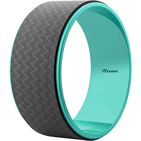 """REEHUT Yoga Wheel for Back Pain - 12.6"""" x 5"""" Strong Premium Back Roller and Stretcher with Thick Cushion for Dharma Yoga Pose, Backbend & Stretching"""