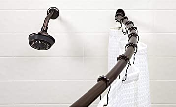 """Bath Bliss Wall Mounted Adjustable Curved Bathroom Shower Curtain Rod, 42""""-72"""", 33% More Space, Oil Rubbed Bronze"""