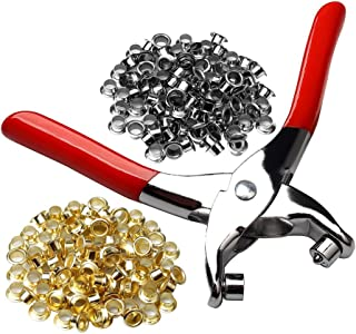 "Color Scissor 1/4"" Grommet Eyelet Setting Plier with 100 PCS Silver and 100 PCS Gold Eyelets Grommets, Eyelets Punch Holes Hand Pliers Tool for Making Holes in Leather/Clothes/Shoes/Fabric/Belts etc."