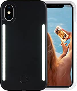 Wellerly iPhone Xs Max Case, LED Illuminated Selfie Light Cell Phone Case Cover [Rechargeable] Dual Light Up Luminous Selfie Flashlight Case for iPhone Xs Max 6.5inch (Black)