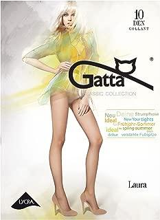 Gatta Laura 10den - elegante dünne halbmatte transparente Feinstrumpfhose mit verstärktem Miederteil - Höschen