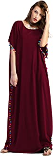 Floerns Women's Pom Pom Trim O Neck Casual Loose Maxi Kaftan Dress