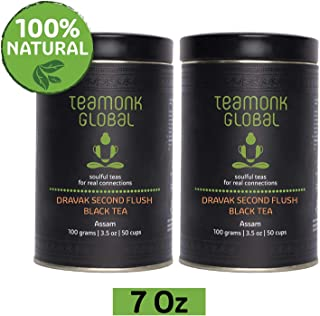 Teamonk Dravak Assam Second Flush Black Tea Loose Leaf (100 Cups) | Premium Black Tea | Energy Boosting Tea | Pure Loose Leaf Tea | No Additives - 7oz