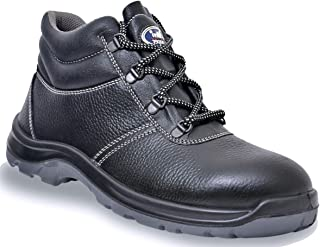 Allen Cooper AC-1436 High Ankle Safety Shoe, Double Density DIP-PU Sole, Black, Size 8