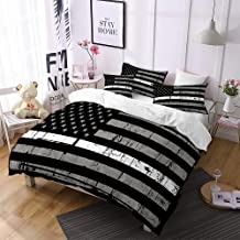 Jessy Home American Flag Duvet Cover 3PC Queen Size Fourth of July Independence Day Theme Decor USA Bedding Retro Gray Stripes USA Flag Quilt Cover with 2 Pillow Cover Black and White