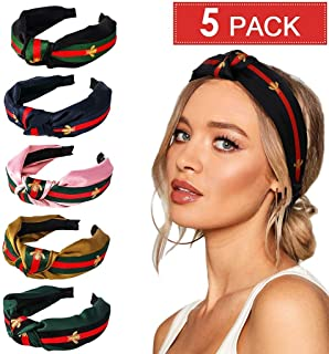 Headbands for Women, 5 Pack, Thick, Wide Knotted Turban Bands for Teens, Girls and Adults, Cute Bee, Fashion and Vintage Black, Navy, Green, Gold and Pink Hair Accessories