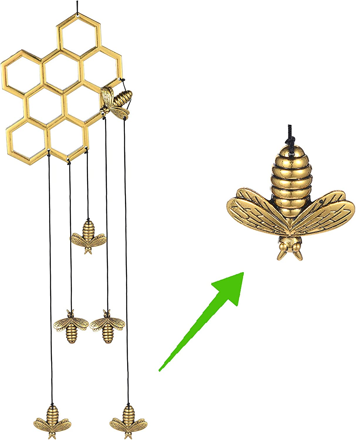 Memgift Bee Ranking Courier shipping free shipping TOP17 Honeycomb Wind Chimes Indoor Outdoor Gar for Outside