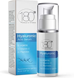 Hyaluronic Acid Serum w. Peptides + Vitamins C & E - Extra Strong - Ages 40 to 50 - Improved Tone & Elasticity - Concentra...
