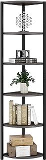 HOMECHO Etagère d'Angle Vintage Meuble de Rangement à 6 Etages Bibliothèque d'Echelles pour Salon Chambre Cuisine Balcon S...