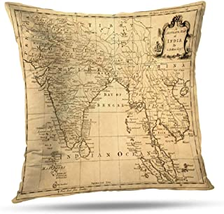 Coeny Antique World Map Decorative Pillow Covers 18x18 Inch Cushion Cover, Vintage Map India and Cotton and Ployster Blend Pillow Cases for Sofa Bed Home Car,Vintage Map India