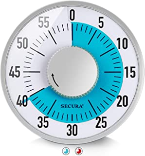 Secura 60-Minute Visual Timer 6-Inch Mechanical Countdown Timers for Teaching, Meeting, Cooking, Working - Timer for Kids ...