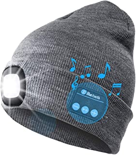 LED Iluminado Bluetooth Beanie Cap, USB Recargable inalámbrico Musical Running Hat Ultra Brillante 4 LED Lámpara de luz Impermeable Uso para Esquiar Senderismo Camping Ciclismo