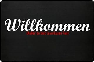 PlimPlom Fußmatte Anti Leverkusen in schwarz - Lustige Fußball Schmutzfangmatte mit Statement für Dein Zuhause aus Polypropylen mit Rutschfester Unterseite