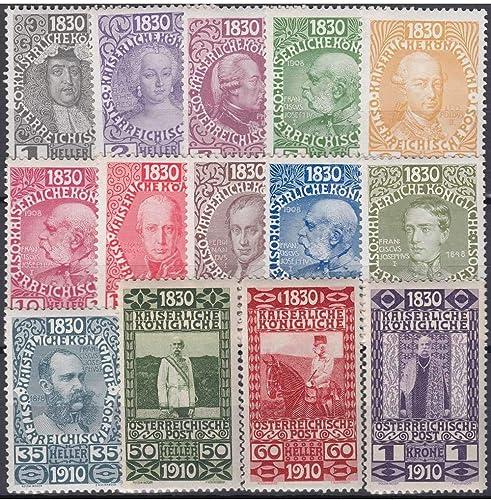 Goldhahn  erreich Nr. 161-174 80. Geburtstag Franz Joseph 1 Heller bis 1 Krone 1910 Briefürken für Sammler