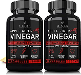 (2 Pack | 180 Pills) Apple Cider Vinegar Capsules w Garcinia Cambogia -1500mg - ACV Tablets - Fiber Supplement - Detox Cleanse Relief - Heartburn, Digestion, Organic Weight Management - 3 Month Supply