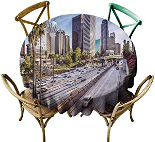 UETECH Tulle Round Tablecloth Travel,Downtown Los Angeles USA Fabric Tablecloth Diameter 60