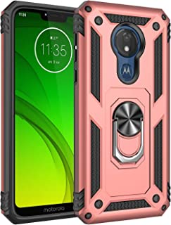Rebex Motorola G7 Power Case Cover,Moto G7 Supra Case,Tough Heavy Protective 360 Metal Rotating Ring Kickstand Holder Grip Built-in Magnetic Metal Plate Armor Heavy Duty Shockproof (B-Rose Gold)