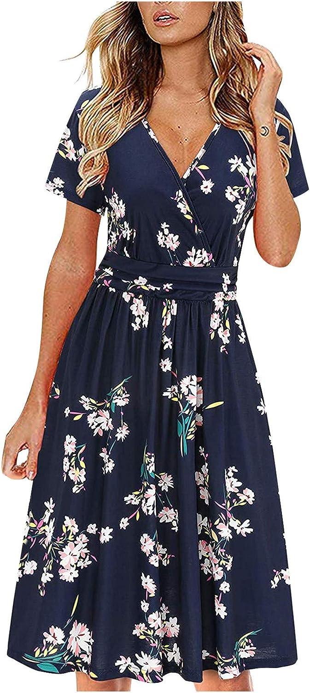 Women's Summer Dresses Short Sleeve V-Neck Floral Short A-Line Swing Party Cocktail Midi Dress