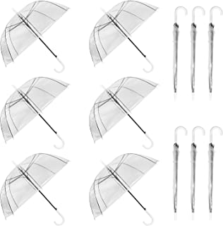 R HORSE 12Pack 46 Inch Clear Bubble Umbrella J Handle Automatic Open Umbrellas Large Transparent Windproof Waterproof Stic...