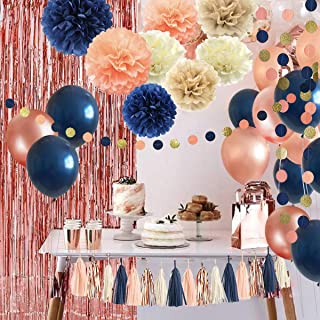 32 Pack Navy Blue Rose Gold Party Decoration Kit, Navy Rose Gold Balloons, Curtains, Paper Flowers,Tassel and Garland for ...