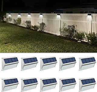 ROSHWEY Solar Deck Lights Outdoor 30 LED Stainless Steel Step Lamps Waterproof Security Lights for Stairs Fence Pathway Wa...