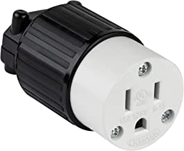 ENERLITES Industrial Grade 15A 125V Straight Blade Cord Connector, NEMA 5-15R, 2P, 3W, 66201-BK, Black