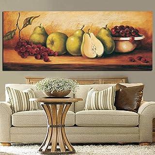 Pintura impresa digital Bodegón Fruta Pera Uva Pintura al óleo sobre lienzo Pintura Imagen Cocina Arte de la pared Cartel Decoración para el hogar- 60x150cm sin marco