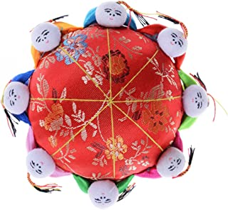 Jiabetterniu 1 Pcs Oriental Needle Pin Cushion with 8 Kids,Chinese Style Pincushions Fabric Coated Fully Padded Pin Storage,Sewing Accessories,Red
