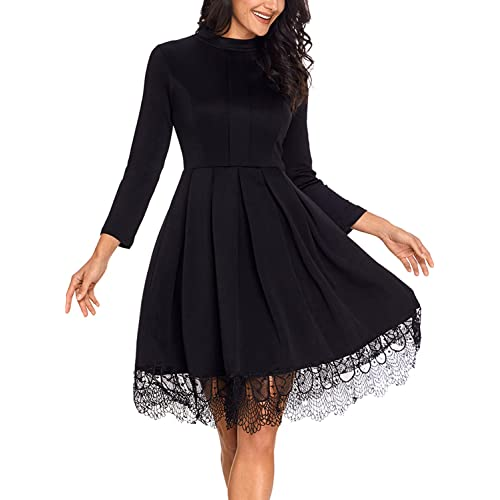 63f8670a8b9 GOSOPIN Womens Lace Hemline Long Sleeve Mock Neck Pleated Skater Midi Dress  X-Large Black