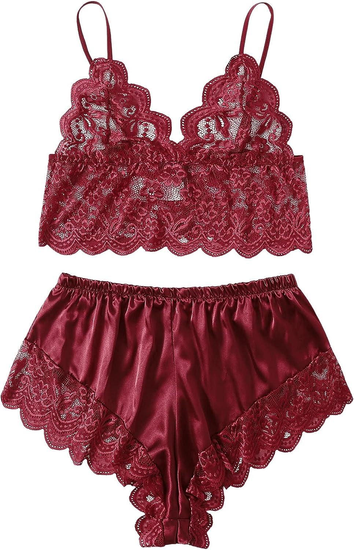 DIDK Women's Plus Satin Floral Lace Bralettes 2pcs Bra and Shorts Lingerie Set