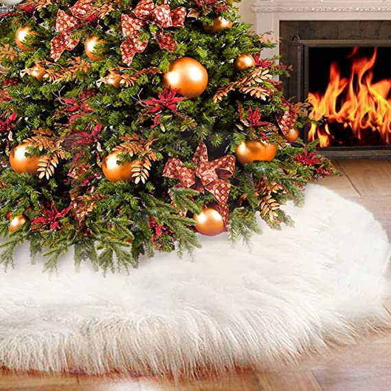 60 inch Qibote 60 Inch Christmas Tree Skirts Plush Faux Fur Handmade Large White Tree Skirt Decorations for Indoor Outdoor Home Xmas Party Christmas Decor