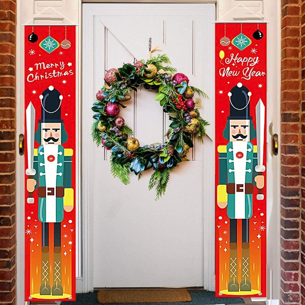 Christmas Decorations Outdoor Banner, Christmas Clearance Outdoor Indoor  Merry Christmas Decor Porch Hanging Sign for Front Door, Nutcracker Soldier  ...