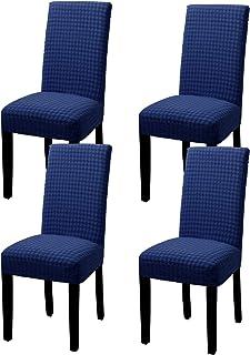 Yisun – Funda de silla extensible Jacquard House con asiento elástico, de tela suave, agradable para el comedor, casa (azul oscuro, juego de 4)