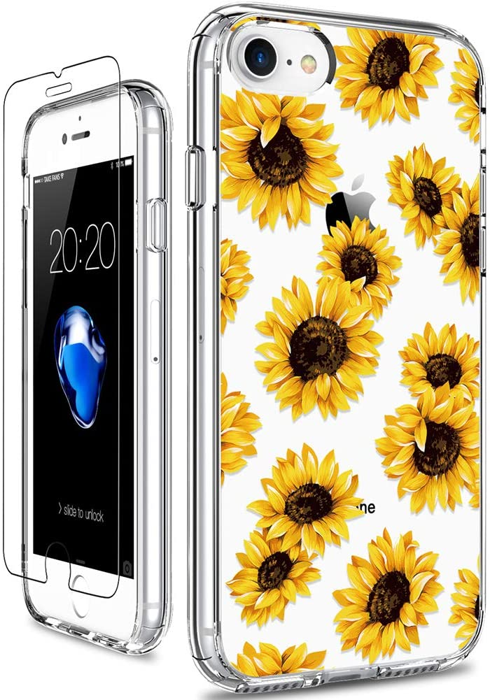 GiiKa iPhone SE 2020 Case, iPhone 8 Case, iPhone 7 Case with Screen Protector, Clear Protective Case Floral Girls Women Hard PC Case with TPU Bumper Cover Phone Case for iPhone 7, Sunflowers
