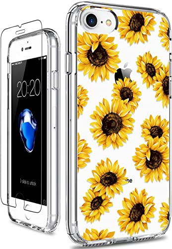 GiiKa iPhone SE 2020 Case, iPhone 8 Case, iPhone 7 Case with Screen Protector, Clear Protective Case Floral Girls Wom...