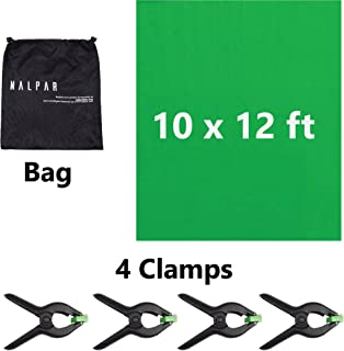 10 x 12 feet Green Chromakey Backdrop Background Screen to Enhance Your Photography; Photo-Video Studio with 4 Heavy Duty Backdrop Clamps