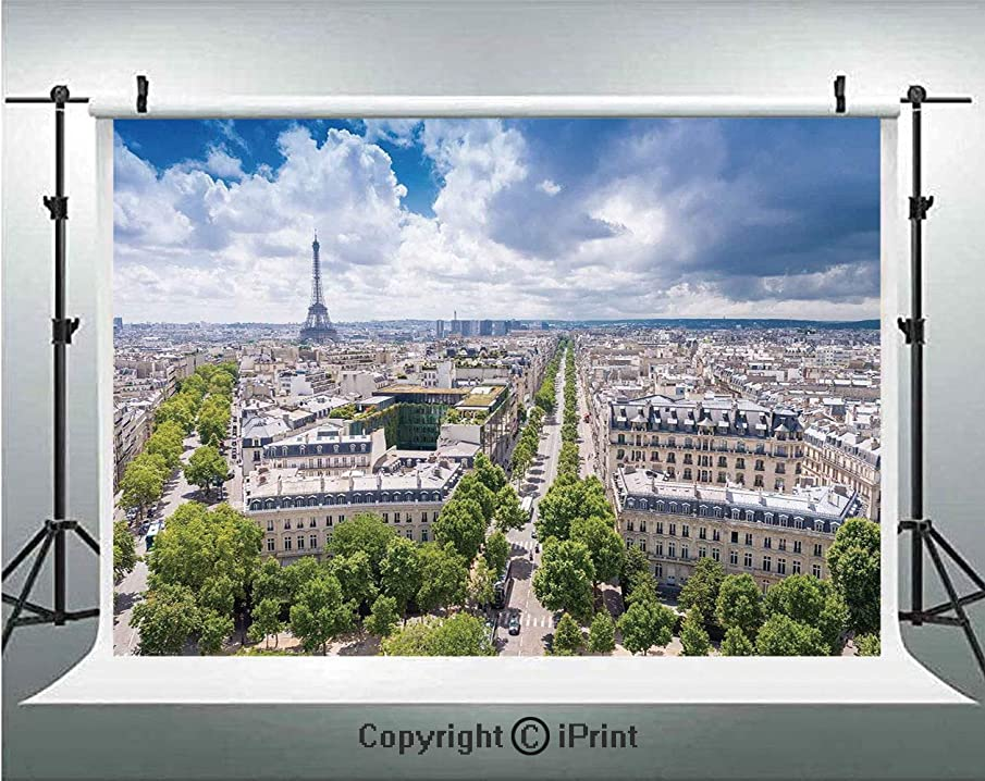 European Photography Backdrops Aerial Paris Eiffel Tower French Heritage Culture Architecture Image,Birthday Party Background Customized Microfiber Photo Studio Props,5x3ft,Light Blue Cream Green