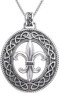 Sterling Silver Fleur De Lis Celtic Knotwork Pendant on 18 Inch Box Chain Necklace