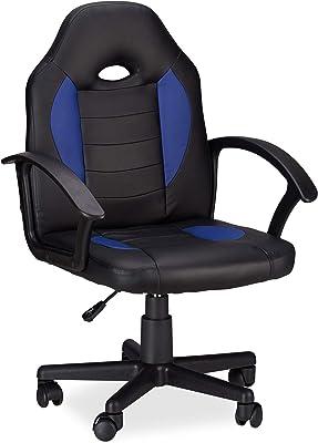 Relaxdays ゲーミングチェア XR7 360度回転 ゲーマー用オフィスチェア 高さ調整可能 容量120kg レーサーのような外観 ブラック-ブルー
