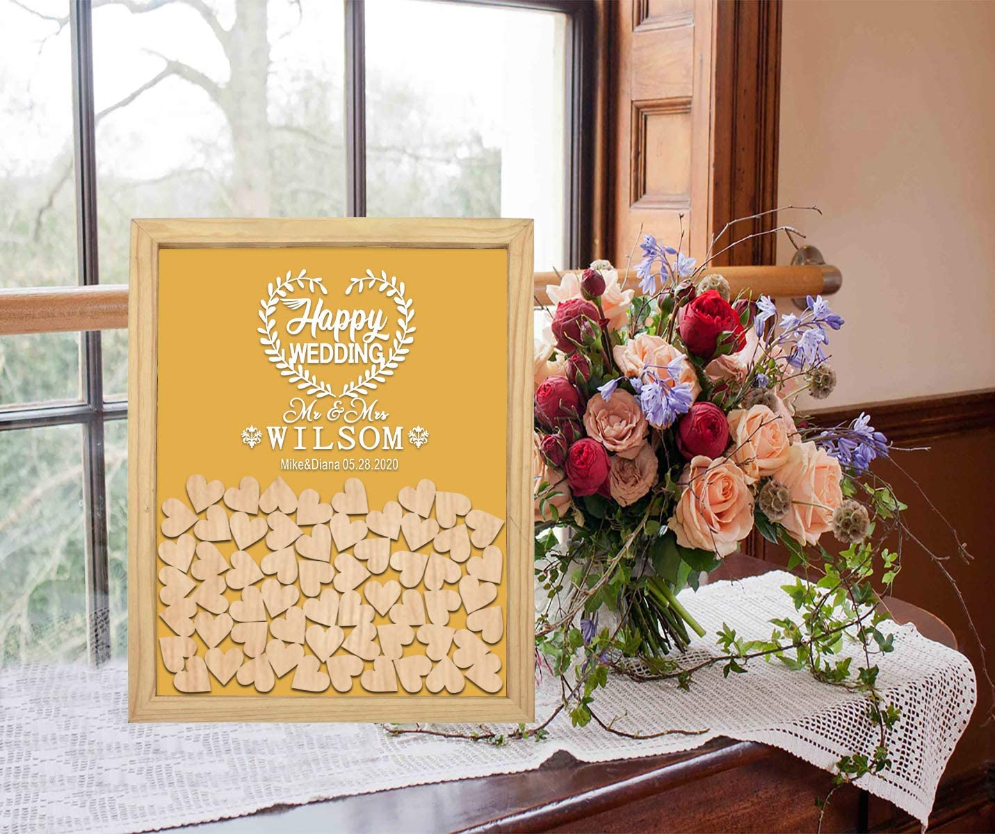 PotteLove Personalized Drop Box Wooden New Shipping Free Wedding Frame with Tampa Mall Happy
