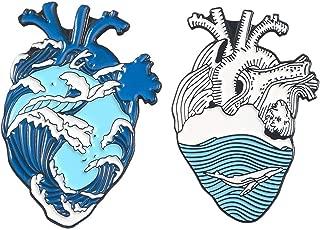 Ocean Wave Organ Heart Enamel Pins Whale Brooches Bag Clothes Lapel Pin Badge Blue Sea Beach Jewelry Gift