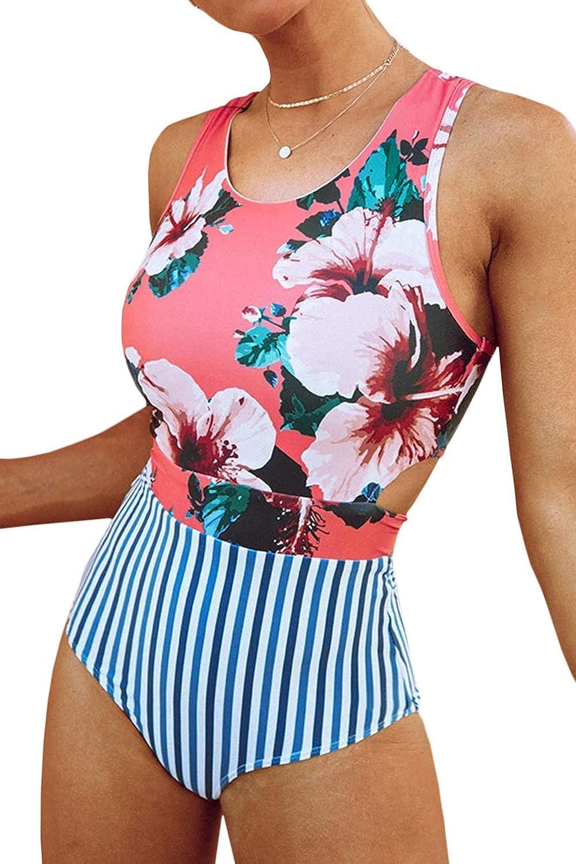 Almaree Women Floral Striped High Neck Zip Tie Back One Piece Swimsuits Swimwear