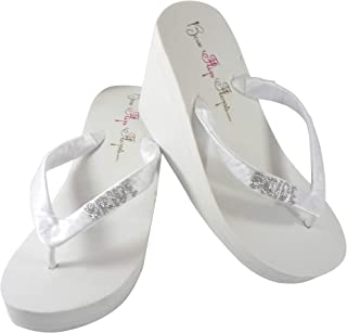Glitter Bride Flip Flops in White or Ivory Wedge Heel, Silver or Choose your Color