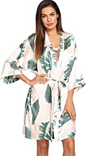 Women's Bridesmaid Satin Kimono Oblique V Neck Bathrobe Robes