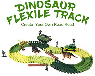 Refasy Children Dinosaur World Car Vehicle Race Track Toy