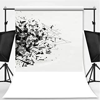 Explosion of Black Shards Theme Backdrop Backdrop Background for Photography,Shatter Vector,8.2x8.2ft