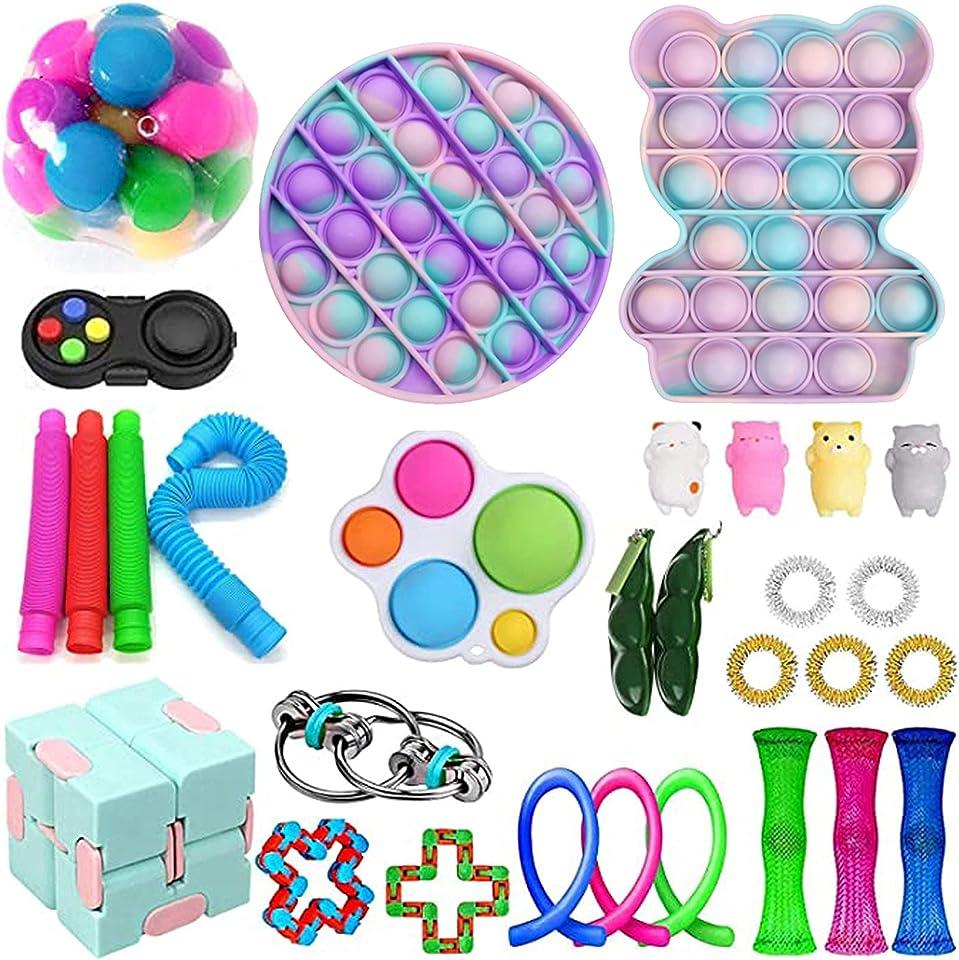 Sensorische Fidget Spielzeug-Satz für Kinder oder Erwachsene Fidget Toys Pack-Hand Spielzeug Stress-Angst Relief Spielzeug Set für ADHS